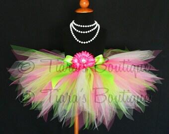 Pink and Green Tutu, Girls Birthday Tutu, Spring Mix, Sewn Pixie Tutu, Hot Pink, Apple Green, White, St. Patrick's Day Tutu