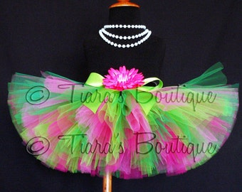 "Girls Tutu Skirt - Pink Green Tutu - Watermelon Sour Tutu -  Custom Sewn 8"" Tutu - up to 5T - St. Patrick's Day Tutu - 1st birthday set"