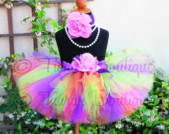 "pink orange lime purple tutu and headband set - TROPICAL TREASURE - custom sewn 8"" tutu and headband - sizes Newborn to 5T"