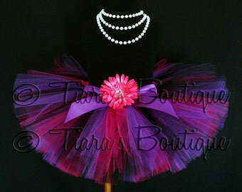 "Girls Tutu - Birthday Tutu - Pink Purple Black Tutu - Rock Diva Tutu - Custom Sewn 8"" Tutu - sizes Newborn to 5T - Photo Prop - Baby Tutu"