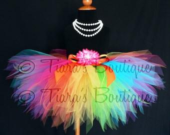 Rainbow Tutu - Custom Sewn 11'' Pixie Tutu - Aura - A Magical Rainbow Tutu - Girls sizes 9 to 12