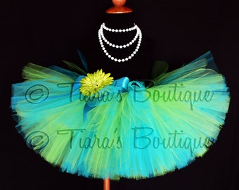 "Girls Birthday Tutu - Tropical Mist Tutu - Blue and Apple Green Custom Sewn Extra Full 10"" Tutu - sizes Newborn up to 5T"