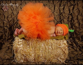 Pumpkin Tutu - READY TO SHIP - My First Pumpkin Costume - Orange Infant Tutu & Hat Set - Sewn 6'' Infant Toddler Tutu w/ Beanie