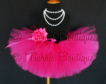 "Pink Tutu - Sewn Tutu - Hot Pink Tutu - Ready to Ship - Fabulous Fuchsia - 6"" Girls Tutu - sizes Newborn to 12 months"
