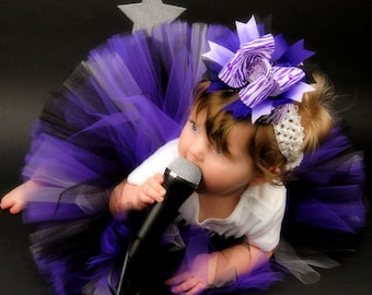 "Hollywood Glam - custom SEWN 8"" tutu - Purple Black Gray/Silver - sizes up to 5T"
