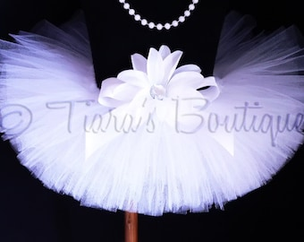 "Photo Prop Tutu - White Tutu - Baby Tutu - Girls Tutu - Birthday Tutu - 6"" Sewn Infant Tutu - Ready To Ship - sizes newborn up to 12 months"