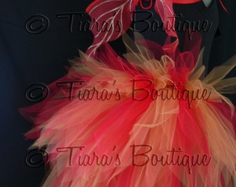 Fire Goddess - Women's Custom Sewn 3 Tiered Pixie Tutu Bustle and Fairy Wings - Red and Gold
