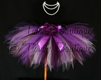 "Vibrant Violet Tutu - Plum Purple Lavender Custom Sewn 13"" Pixie Tutu - girls sizes 9 to 12"