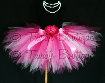 "Pink Punch Tutu - Fuchsia Pink Custom Sewn 13"" Pixie Tutu - sizes newborn up to 5T"