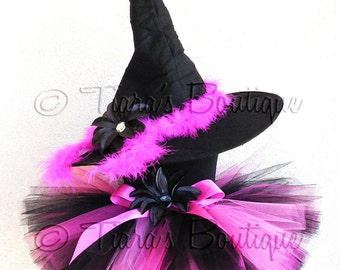 "Halloween Witch Tutu Costume Set - Black Pink - Roxy, the Rockabilly Witch - Custom SEWN 10"" Tutu & Witch Hat - newborn up to 5T"