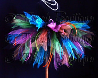 "Color Explosion Tutu - Black Neon Rainbow Tutu w/ Ribbon Streamers - 3 Tiered 15"" Pixie Tutu - girls sizes 6 to 8 or up to a 24"" waist"