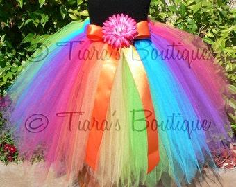 "Flower Girl Tutu Skirt for Weddings, Aura Tutu - Custom SEWN Rainbow Pixie Tutu - up to 22"" long - sizes up to 5T"