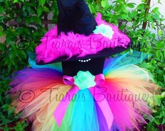 Witch Tutu Costume - Auriana, the Rainbow Witch - Custom Sewn 11'' Pixie Tutu & Witch Hat - sizes Newborn to 5T - perfect for Halloween