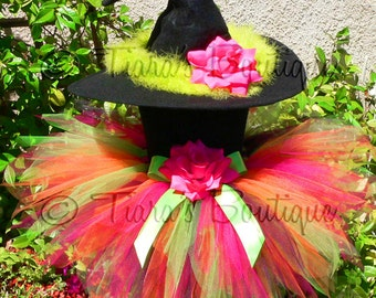 Witch Tutu Costume - Charisma, the Charmed Witch - Custom Sewn 11'' Pixie Tutu & Witch Hat - sizes Newborn to 5T - perfect for Halloween