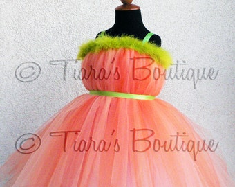 Pumpkin Princess Tutu Dress - Custom Sewn Belted Pixie Dress - available in any size up to 5T and 30'' long