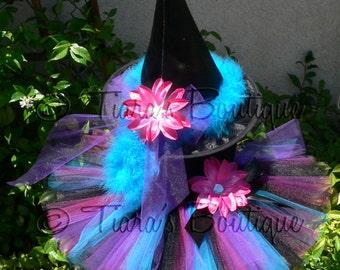 "Halloween Tutu Witch Costume - Elektra, the Electric Witch - Sewn 8"" Tutu Costume w/ Witch Hat - Black Blue Purple Fuchsia - sizes up to 5T"