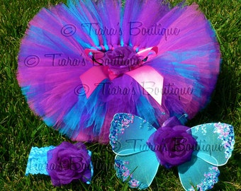 Baby Tutu Fairy Wings Costume - Berry Fairy Tutu Set - Sewn 6'' Tutu Wings & Headband - Purple Pink Blue - sizes newborn to 12 months