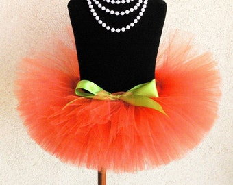 "Orange Tutu - Sewn Tutu - Pumpkin Tutu - Ready to Ship - 8"" Girls Tutu - sizes Newborn to 5T - Photo Prop for Girls"
