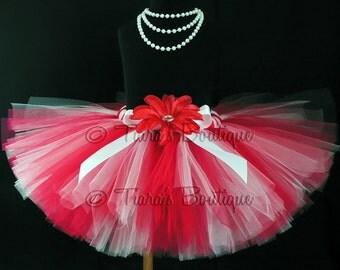 Valentine's Day Tutu - Birthday Tutu - red white tutu - Custom Sewn 8'' Tutu - sizes Newborn to 5T - Baby Tutu - Photo Prop Tutu for Girls