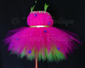 "Ladybug Tutu Dress - Pink Purple Green Tutu - Halloween Costume - Custom Sewn Pixie Dress - sizes 18-24 months, up to 20"" long"