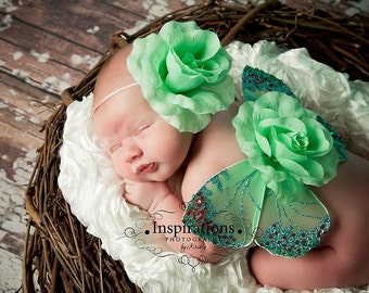 Baby Butterfly Wings and Flower Headband Set - Green Blue Pink Fairy Wings - Infant Wings - Photography Photo Prop