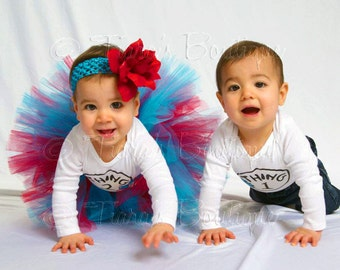 "Girls Birthday Tutu and Headband Set - Custom Sewn Tutu Red Blue - Suess Sweetheart - 8"" tutu - sizes Newborn to 5T"