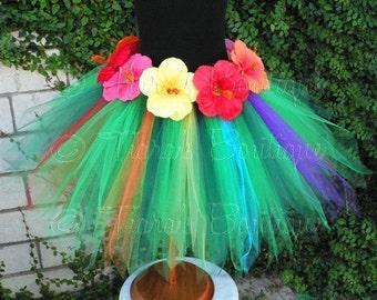 "Hula Tutu - Leilani, an island pixie - A Tiara's Boutique Original Design - 15"" pixie tutu - Grass Hula Skirt Inspired Custom SEWN Tutu"