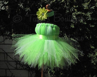 "Custom Sewn Tutu - Tinkerbell - Belted Pixie Dress - up to size 5T and 30"" long - Perfect for Birthdays, Halloween - Dress Only"