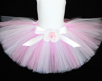 "Pink White Tutu for Girls - Easter Tutu - Custom Sewn Tutu up to 10"" - sizes up to 5T"