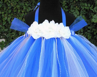 Blue Moon - Custom - Fully SEWN Tutu Dress - features tulle sleeves and pearls strands throughout the dress