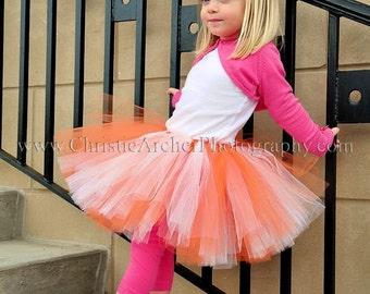 "Orange White Tutu - Tangerine Dreams - Custom SEWN tutu - up to 10"" long - sizes up to 5T"