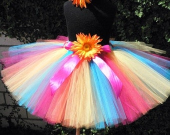 "Girls Birthday Tutu - Tropical Splash - Fuchsia Pink Turquoise Blue Yellow Orange - Custom SEWN 12"" Tutu - sizes newborn up to 5T"