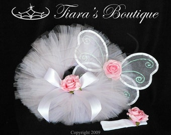 Heavenly - Fairy Wing & Tutu Set w/ Flower Headband - Infant Toddler - newborn to 12 mos - Perfect for 1st Birthdays and Baby Shower Gifts