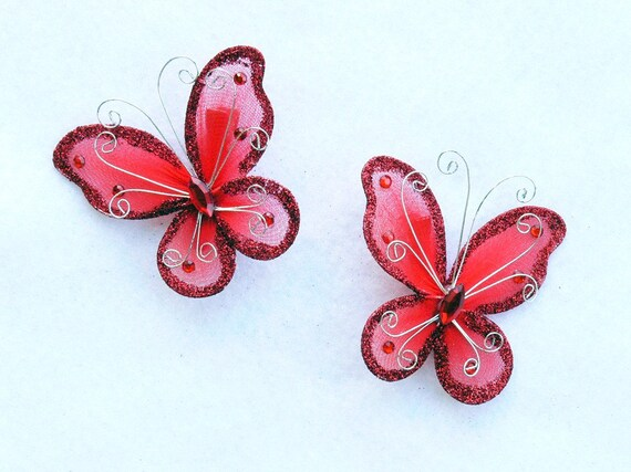 Set of 2 Red Butterfly Barrettes - get a pair to match your tutu