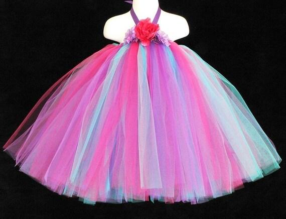 Flower Girl Tutu Dress - Pink Blue Purple - Alexa - Sewn Tutu Dress - Perfect for Spring Portraits, Birthdays, and Pageants
