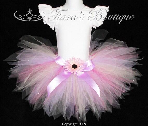 "Pink Tutu - Lavender Tutu - Thumbelina, a flower pixie - 11"" pixie tutu - Sewn Tutu for Girls, Baby, Toddler"