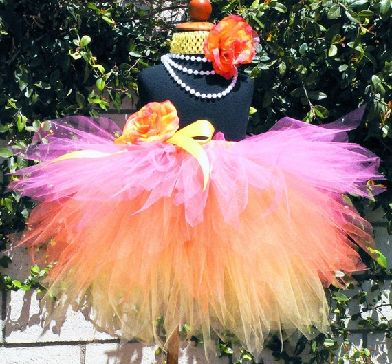 Sewn Tutu - Pink Orange Yellow Layered Tutu - Custom 3 Tiered Pixie Tutu - SUMMER SUNSETS - sizes newborn up to 5T