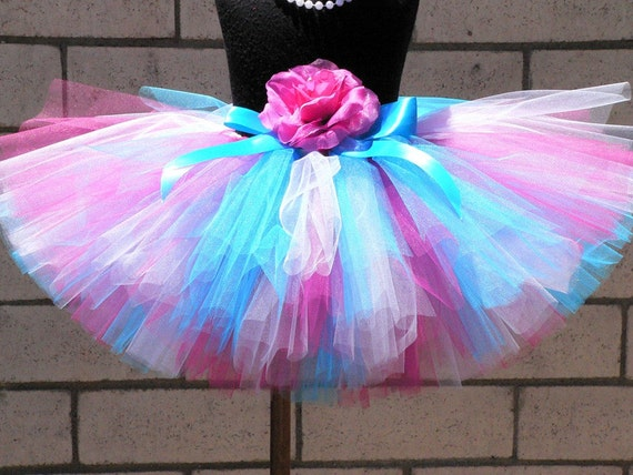 """Custom Sewn Tutu - Sugar Berry - Pink Blue White - Includes a 10"""" tutu and a coordinating flower headband - size NB to 5T"""