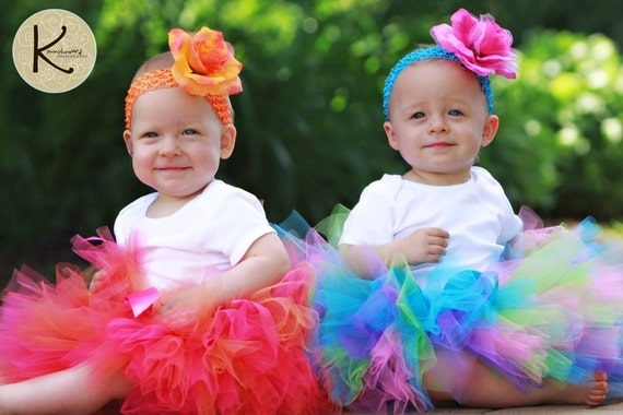 "Girls Birthday Tutu Headband Set - fuchsia pink coral orange tutu - CORAL BEAUTY - Sewn 10"" Tutu and Flower Headband - sizes Newborn to 5T"