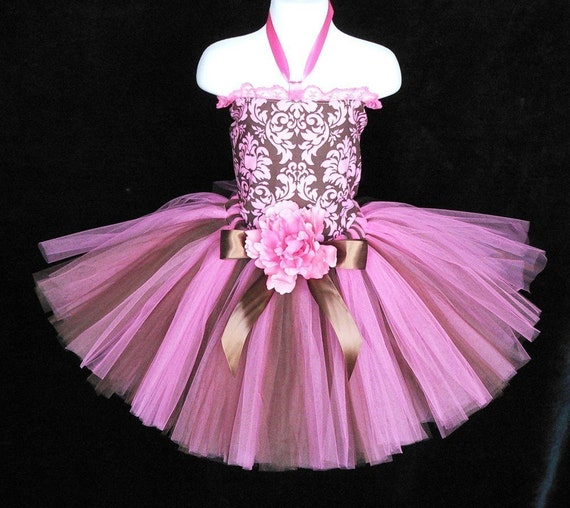 Decadence - Custom Sewn Tutu - Hot Pink and Chocolate Brown - up to 12'' in length - MADE-TO-ORDER - tutu only