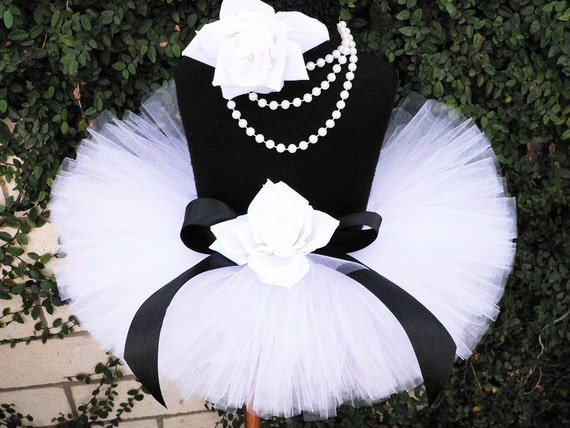 A Black Tie Affair - Custom Sewn Infant Tutu - sizes Newborn up to 12 months - Perfect for Christmas Portraits and New Year's Celebrations