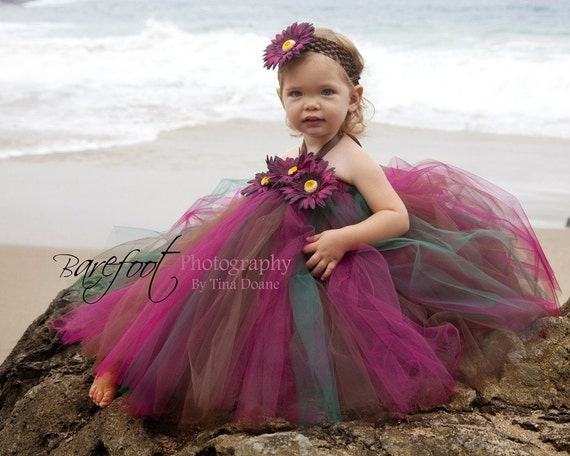 Girls Tutu Dress - Autumn Princess - Custom Sewn Tutu Dress - sizes up to 5T and 30'' long