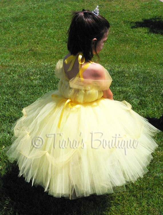 Yellow Princess Tutu Dress - Belle Inspired Tutu Dress - Includes a Belted Tutu Dress with Draping Tulle Sleeves and Decoration