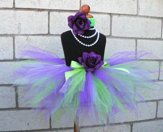 Purple Green Tutu - Grape Sours - Custom Sewn 11'' Pixie Tutu - sizes newborn to 5T - St. Patrick's Day Tutu