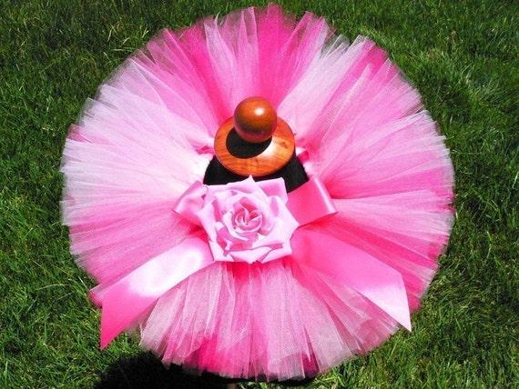 Pink Tutu, Baby Tutu, Strawberry Dreams, Custom Sewn Infant Tutu 6'', sizes newborn to 12 months