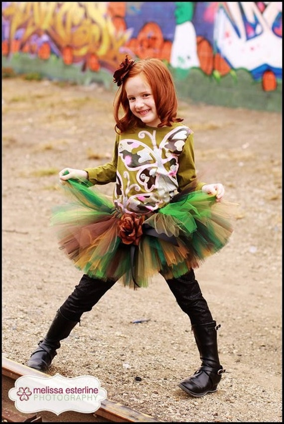 "Mossy Oak Camo Tutu - Custom Sewn 12"" Tutu  - Tiara's Boutique Original - sizes up to 5T - For 1st Birthdays, Halloween and Military Events"