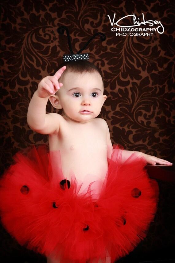 """Girls Ladybug Birthday Tutu - Ladybug Tutu - Red Ladybug Tutu with Black Spots - LUCKY LADYBUG - Sewn 8"""" Ladybug Tutu - Halloween Tutu"""