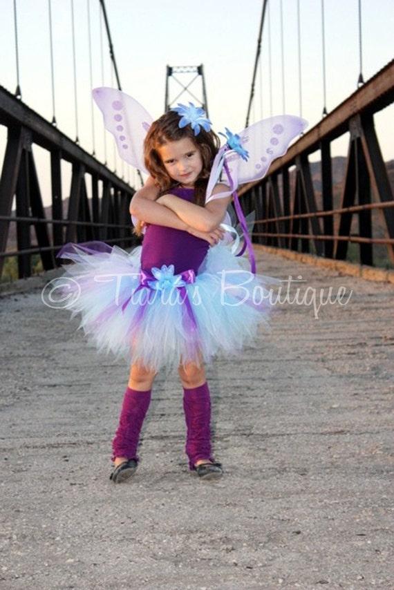 Purple Blue Tutu - Blue Fairy - Custom Sewn 11'' Pixie Tutu - Halloween Tutu - TUTU ONLY - Girls sizes 9 to 12