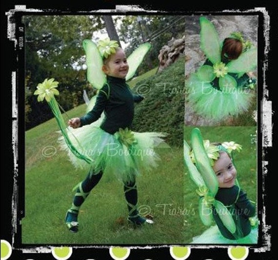 Tinkerbell Fairy Tutu - Custom Sewn 11'' Pixie Tutu - Great for Halloween, Christmas and St. Patrick's Day - Tutu Only