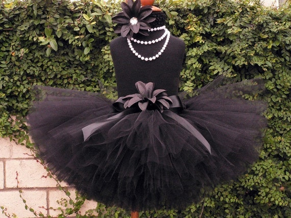 Girls Birthday Tutu Skirt - Black Custom Tutu - TWILIGHT - 10'' Sewn Black Tutu - sizes Newborn up to 5T